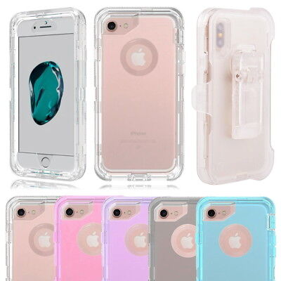 Clear Shockproof Case Cover For iPhone X 8 7 6, Fits Otterbox Defender Belt Clip