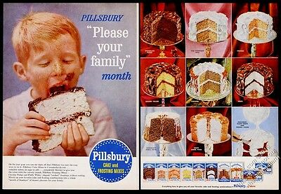 1956 Pillsbury cake mix 9 cake photo BIG vintage print ad