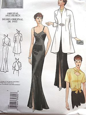VOGUE V2859 RETRO VTG 1930's EVENING DRESS BLOUSE JACKET SEWING PATTERN SZ 6-10