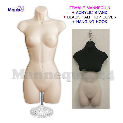 Metal stand Woman Mannequin Body Dress Form Flesh Hanging