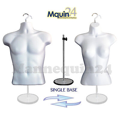 Male & Female Dress Form Mannequin Set WHITE + 2 Hangers + 1 Stand