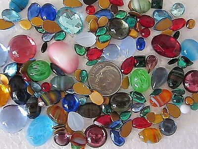 100 Vtg Glass Flat-Backs Cabachons & Bombe Loose Lot Jewelry Repair Crafts Mix