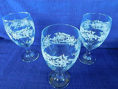 SNOWFLAKE Libbey WATER GOBLETS or WINE GLASSES - SET of THREE (3)