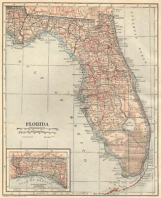 1917 Antique FLORIDA Map Vintage State Of Florida Gallery Wall Art 4671