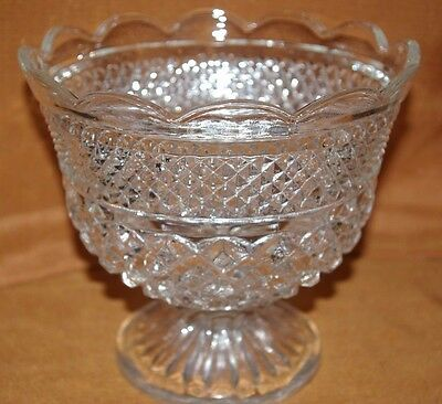Wexford Glass Large Crystal Footed Compote Diamond Pattern Unused Cond