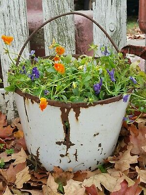 Primitive enamel  BUCKET Rusty Vintage Antique  garden  Farmhouse planter rustic