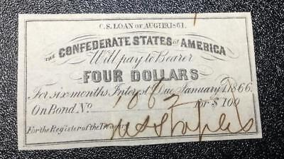 1861 $4 US Confederate States of America! Genuine! FINE! Old US!