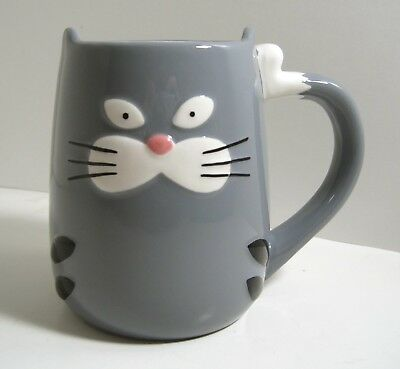 Gray Tabby Alley Kitty Cat Coffee Mug 3D Face Figural Ears Tail Handle TAG Mugs