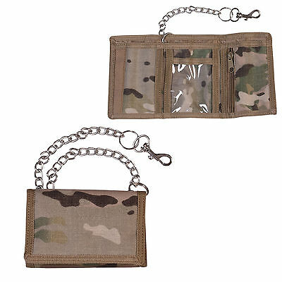 Military Style Wallet On Metal Chain Carabina Clip MTP Multicam Camo Match