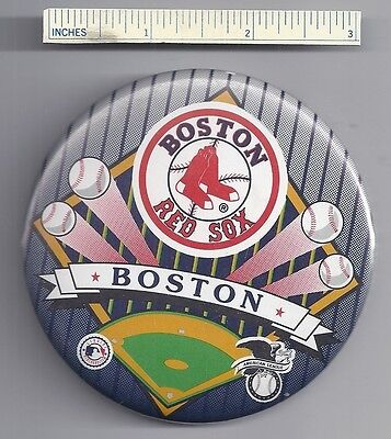 NEW - Large BOSTON RED SOX Pin Baseball Pinback Tin MLB Vintage Look Collectible