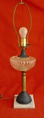 Antique Victorian Oil Lamp Glass Brass Marble Fluted Decor Electrified Fancy