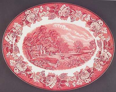 """Wood & Sons ENGLISH SCENERY PINK 16 1/4"""" Oval Serving Platter 773931"""