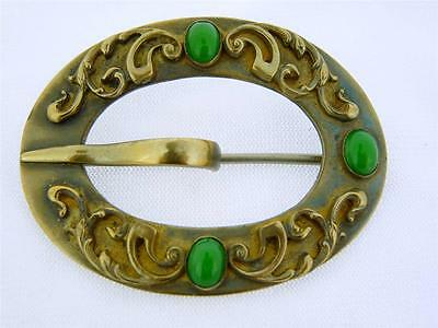 Victorian Antique Ornate Buckle Style Scroll & Jade Glass Sash Pin