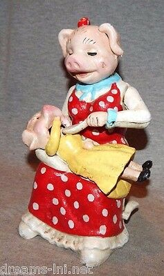 MOMMA PIG FEEDING BABY MECHANICAL CAST IRON BANK Nodder Cute Mother Sow