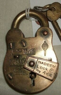 Vintage Antique 10 cms production heavy metal, Brass Plated Lock/2 Keys