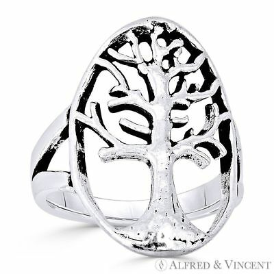 Tree-of-Life / Knowledge Etz Chaim Charm Oxidized Solid 925 Sterling Silver Ring