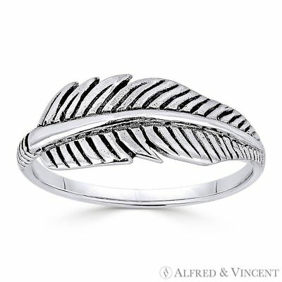 Eagle Wing Feather Charm Oxidized .925 Sterling Silver Stackable Right-Hand Ring
