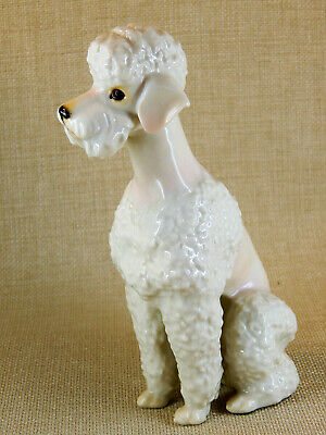 German Hutschenreuther Porcelain Sitting White Poodle Dog Dog Figurine, 6.5""