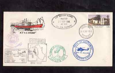 South Africa 1986 cover with Cape Town Paquebot cancel Off Gough many handstamps
