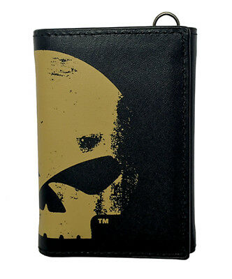 Harley-Davidson Mens Skull Chop Willie G Black Leather Trifold Wallet by LODIS
