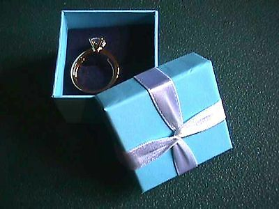 Avon Sparkling CZ Solitaire Ring in Gift Box Medium / Goldtone