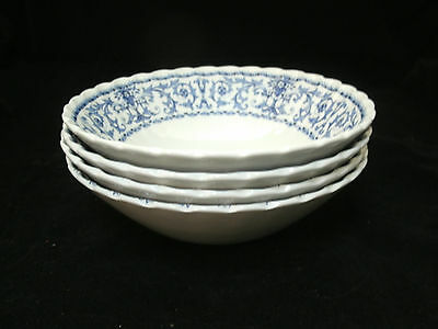 "Vtg Meakin FORUM Blue on White Classic 4-6 5/8"" Cereal Soup Bowls England EUC"