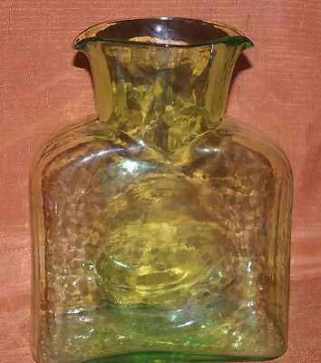Pale Green Blenko Double Spout Decanter Etched 2009 Looks Unused