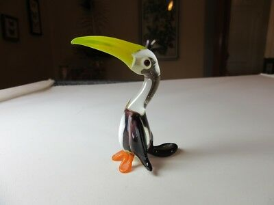 Blown glass miniature Toucan bird figurine