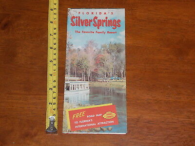 Brochure Old Vintage Silver Springs Family Resort Florida 1955 Road Map