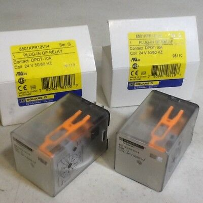 SQUARE D 8501KPR12V14 Plug In GP Relay 8 Pin 24 VAC Lot of 2