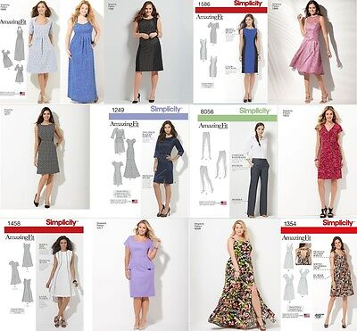 SIMPLICITY SEWING PATTERN Amazing Fit Misses & Women Plus Size Dress ...