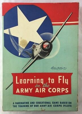 Rare Vintage 1942 Parker Brothers WWII Board Game Army Air Corps Pilots