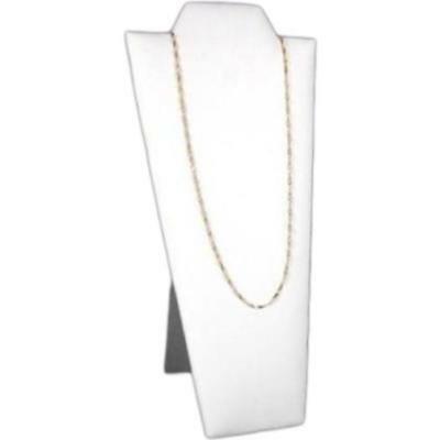 """White Faux Leather Necklace Pendant Jewelry Display Bust 4 1/4"""" x 8 7/8"""""""
