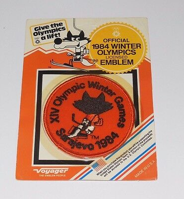 old vintage OFFICIAL EMBLEM PATCH unwraped OLYMPIC WINTER GAMES 1984 SARAJEVO