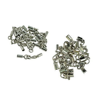 24 Set Crimp Ends Bell Tube Lobster Clasp Fold Over Cord Bail Tips Connector