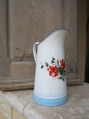 RARE AND ANTIQUE FRENCH ENAMELWARE PITCHER with RED ROSES BLUE SHADING CA 1920