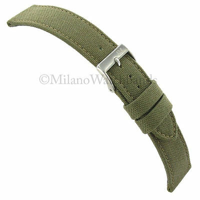 18mm Morellato Padded Stitched Cordura Canvas Army Green Mens Watch Band