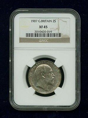 Great Britain/england Edward Vii 1907 Florin Silver Coin, Certified Ngc Xf45
