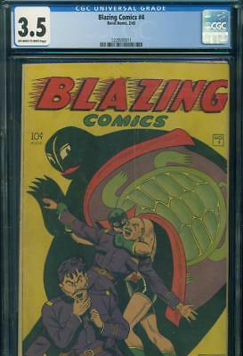 BLAZING COMICS #4 CGC 3.5 VG- GREEN TURTLE 1st ASIAN SUPERHERO Rural Home 1945