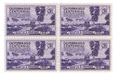 US Scott 954 3c California Gold   Block  of 4  1948 MNH OG
