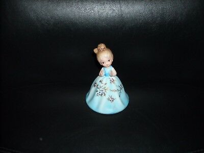 Vintage Porcelain February Bell Girl In Blue Dress Made In Taiwan