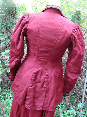 Vintage EDWARDIAN Jacket Skirt Walking Suit Wool 3 pc Maroon RED XXS Antique