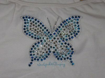 New York & Company White Tank Bra Top W/Blue Butterfly Crystals Size Medium