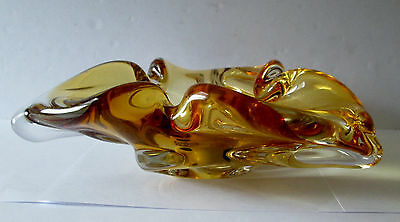 Vintage Chalet Canadian Art Glass Deep Amber Centerpiece/bowl/ashtray