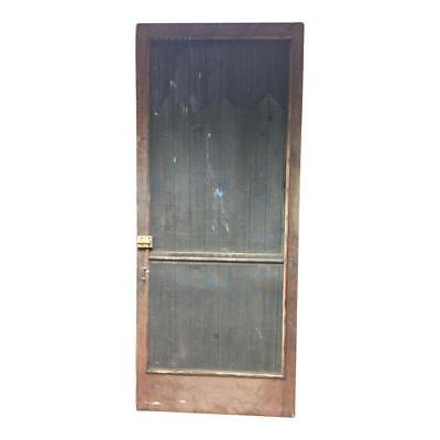 Vintage WOOD SCREEN DOOR wooden brown country rustic farmhouse front cabin patio