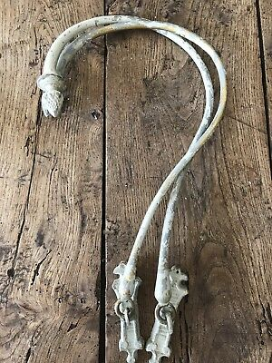 Pair Genuine Antique French Brass Chateau Swing Curtain Tie Back/hooks