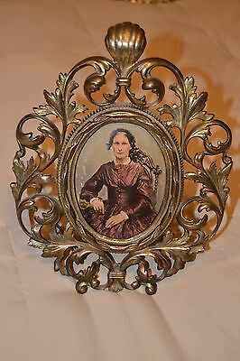 "11.5"" Vintage Ornate Brass/ Bronze Cast Metal Stand 6x4.5 Picture Frame-No Glass"