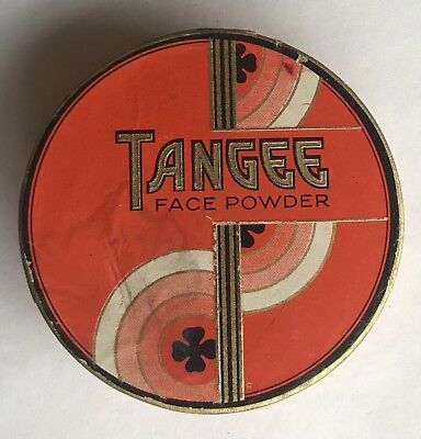 Vintage 1920s? Tangee Face Powder Round Art Deco Shamrock Box Unused