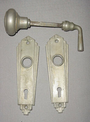 Vtg. Art Deco Nickel Plated Brass Back Plates - Escutions w/ door knob & lever