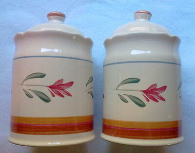 Twin Ceramic Cannisters Wholesome Colors With Tight Fitting Gaskets